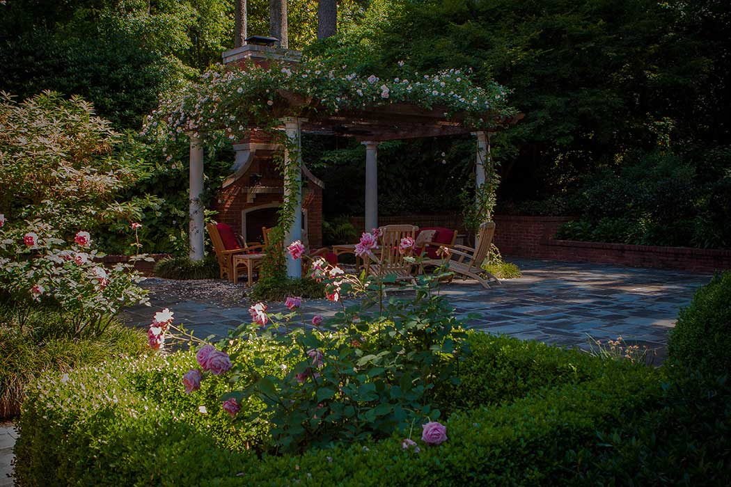 Rose Arbor with fireplace and casual seating